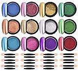 LABOTA 12 Boxes Perla Polvere Effetto Specchio, Holographic Powder Nails Art Glitter Chrome Metallic Manicure Pigment with 24 pcs Eyeshadow Sticks