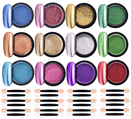 LABOTA 12 Boxen Nagelpuder Set, Chrome-Pigmente Holographic Nail Powder Spiegelpulver mit 24 Pcs Lidschatten Pinsel für Maniküre