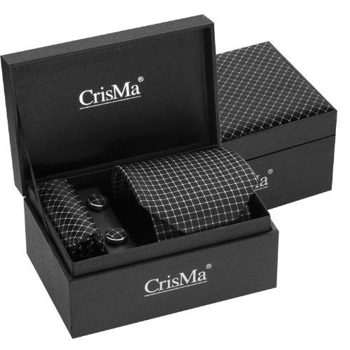 Set uomo con cravatta gemelli pochette in seta dal design a quadri firmato Crisma