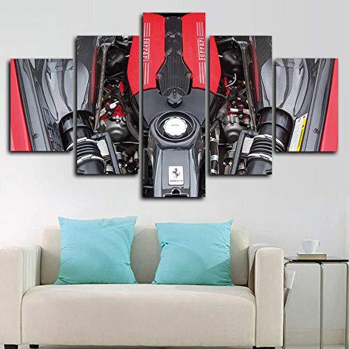 QZWXEC Ferrari V8 biturbo de 3.9 litros/Decoración de Pared 5 Piezas Cuadro En Lienzo Dormitorio Sala DecoracióN del Hogar Arte De Cartel Pared Lienzo Pintura - En Marco - Tamaño(150x80cm)