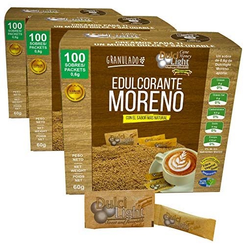 EDULCORANTE MORENO DULCILIGHT 300 sobres |3 ENVASES DE 100| 100% Natural granulado de caña con fibra Vegetal| 1gr = 10gr de Azucar| Ideal para el café