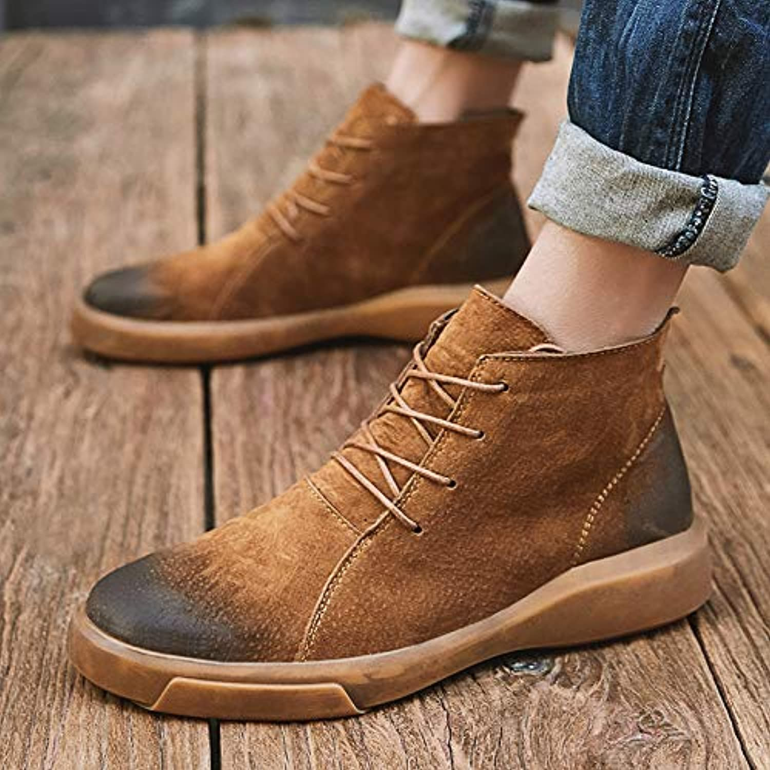 Shukun Men's boots Winter Men'S Boots Casual shoes High To Help Retro Leather Boots Cotton Wild Martin Boots Men'S shoes