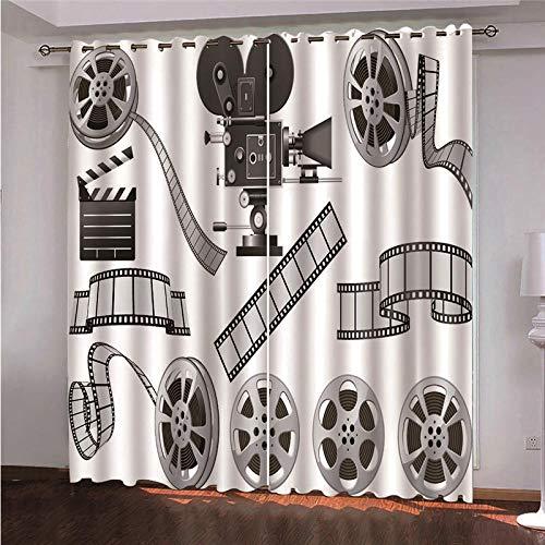BWBJJ Verdunkelungsvorhänge 3D Filmkamera 3D Hd Druck Fenstervorhang Wohnzimmer Kinderzimmer Schlafzimmer Home Dekoration Vorhänge 2 x B117 x H138 cm