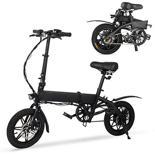 """M MEGAWHEELS Bicicleta electrica Plegable, Bicicleta electrica e-Bike hasta 25 km/h, Bici Electricas Adulto con Ruedas de 14"""", Batería 36V 7.5Ah, Asiento Ajustable, con Pedales."""