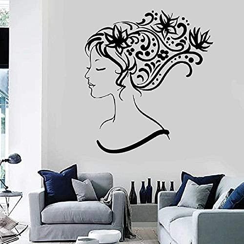 Hermosa chica de la pared etiqueta de la pared vinilo calcomanía vidrio mujer flor mural arte dormitorio pelo salón peluquería decoración 42x46 cm
