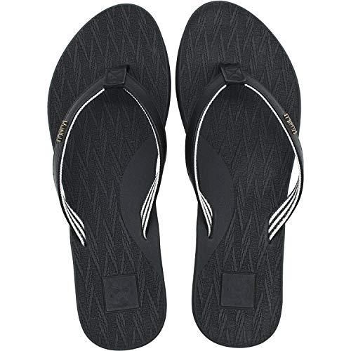 KuaiLu Flip Flops Women Ultraleicht Leder Stoff Zehentrenner Bequeme Yoga Matte Fußbett Badeschuhe Sommer Strand rutschfest Sandalen Schwarz 41
