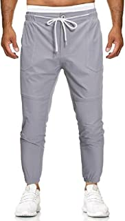 SHOWNO Men Elastic Waist Drawstring Contrast Color Regular Fit Jogger Pants Trendy Casual Pants