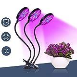 Lámpara de planta Lámpara de crecimiento vegetal de 45 W Lámpara de horticultura impermeable 3 modos de brillo 5 ajustes de brillo 3 modos de temporizador (4/8 / 12H) para interiores
