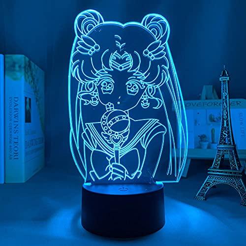 ZMSY - Lámpara 3D de noche con diseño de anime, para dormitorio, decoración de noche infantil, regalo de cumpleaños, manga, gadget Sailor Moon LED, mesita de noche