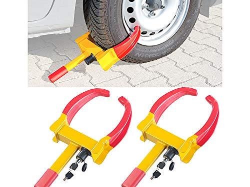Lescars Radkralle-Parkkralle: 2er-Set Universal-Radkrallen zum Diebstahlschutz für Reifen bis 265 mm (Radkralle Wohnwagen)