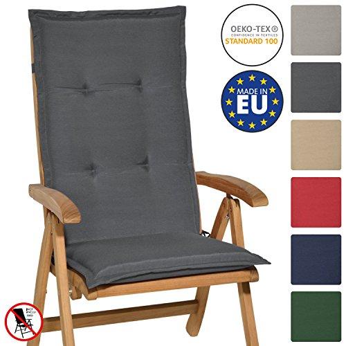 Beautissu Hochlehner Auflage Loft HL 120x50x6cm Sitzkissen Rückenkissen mit Schaumkern-Füllung Graphit-Grau mit Oeko-Tex in diversen Farben