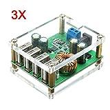 BliliDIY 3Pcs DC-DC Step Down Module Convertidor De Regulador De Potencia Grande con 4 Interfaces USB Entrada 7V-60V Salida 5V / 5A Identificación Automática De Carga Rápida