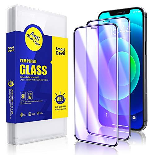 SmartDevil [2 Stück] Panzerglas Schutzfolie kompatibel mit iPhone 12 und iPhone 12 Pro, Anti Blaulicht Schutzfilm, 9H Härte, Anti-Kratzen, Anti-Öl, Hülle Freundllich