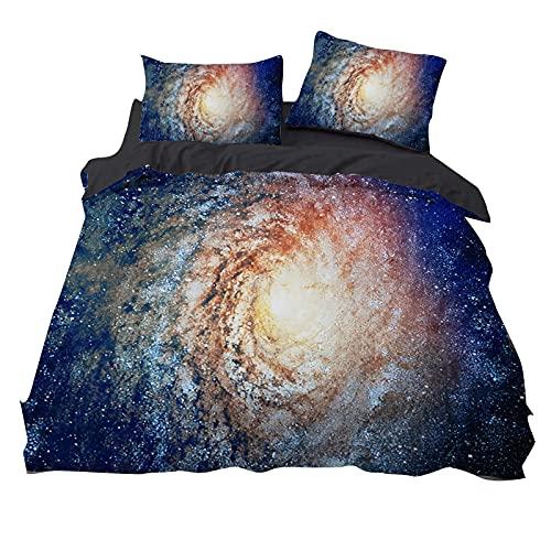 CJCN - Juego de funda nórdica de color azul oscuro, diseño de galaxias
