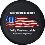 American Unlimited Custom Spare Tire Cover You Design Full Color Personalized Tire Cover (Universal Fit for SUV Camper RV Accessories) Size 35 Inch, Black