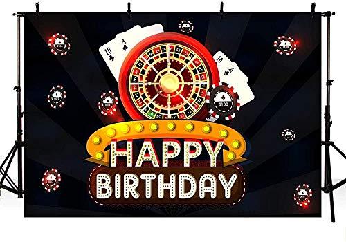 Nuovo 7x5ft Casinò Festa di compleanno Studio fotografico Sfondi Banner Carte da poker Dadi Las Vegas Adulti Buon compleanno Fondali neri per fotografia