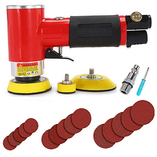 Autolock Mini Air Sander 1/2/3 Inch Central Orbital Air Sander Mini Pneumatic Sander for Auto Body Work High Speed Air Powered Sanders amp Polisher with 15 Sandpapers