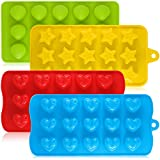 AIFUDA Silicone Chocolate Candy Molds, 4 Packs Non-Stick Baking Molds Ice Cube Trays for Making Cake Muffin Cupcake Gumdrop Jelly - Heart, Star & Shell