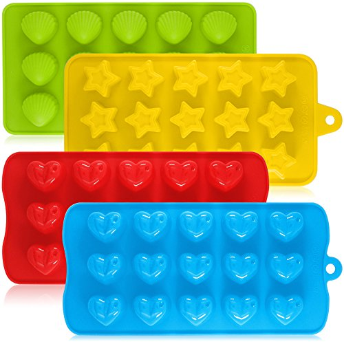 Silicone Chocolate Candy Molds, AIFUDA 4 Packs Non-stick Baking Molds Ice Cube Trays for Making Cake Muffin Cupcake Gumdrop Jelly - Heart, Star & Shell