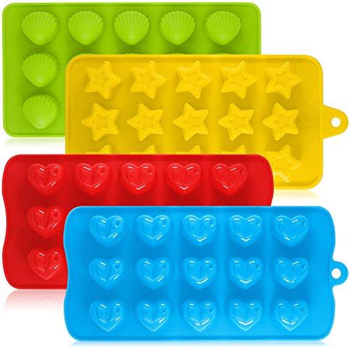 AIFUDA - Moldes de silicona para dulces de chocolate, paquete de 4 moldes antiadherentes para hornear magdalenas o hacer cubitos de hielo, diseño de corazón, estrella y concha