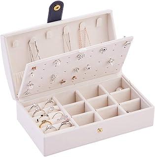 Adaskala Jewelry Box Necklace Earring Ring Storage Organizer Leather Jewel Case for Girls Women