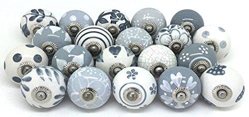 Pushpacrafts, pomelli per armadio, cassetto, in ceramica, dipinto a mano, 20 pezzi, grigio e bianco