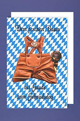 Bayern Geburtstag Grußkarte Karte Junge Humor Feschen Buam OIS GUADE C6 Plus 3 Sticker