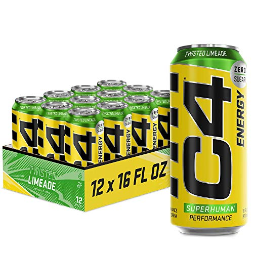 C4 Energy Carbonated Zero Sugar Energy Drink, Pre Workout Drink + Beta Alanine, Sparkling Twisted Limeade, 16 Fluid Ounce Cans (Pack of 12)