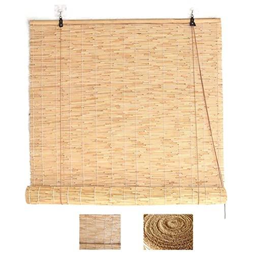 LMZJLU Cortina de caña Natural, persiana Enrollable de bambú, persiana Enrollable Opaca, decoración del hogar, persianas Elevadoras, Tejido a Mano, para Interior/Exterior/Patio/Puerta, Person