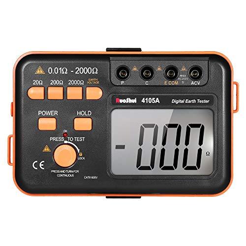 [jiroo] 接地抵抗計 デジタルアース 抵抗 テスターグランド メーター 絶縁抵抗計 2000ohm 200V電圧計抵抗計 デジタルマルチメーター LCDバックライトディスプレイ