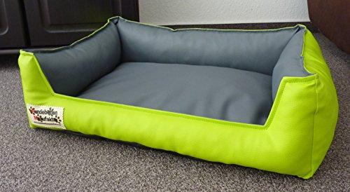 Hundebett Hundesofa Schlafplatz Kunstleder Acceso Farbe und Größe wählbar von XS bis XXL (110 cm X 85 cm, Limone grau)