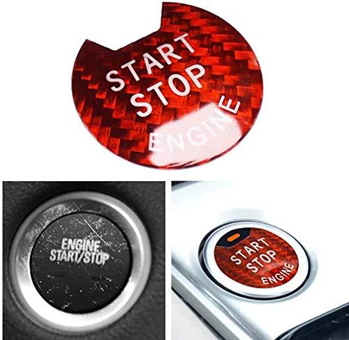 Cubierta protectora de la fibra de carbono Start Stop interruptor de botón de encendido Botón Pegatina Cubierta for Ni-SSAN Teana 2012-2018 Sunny 2011-2016 Bluebird 2016-2019 Tiida 2011-2019 Murano Ci