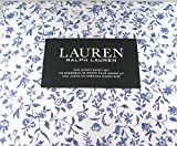 Ralph Lauren Queen Size Cottage Chic Floral Sheet Set Blue and White Cotton