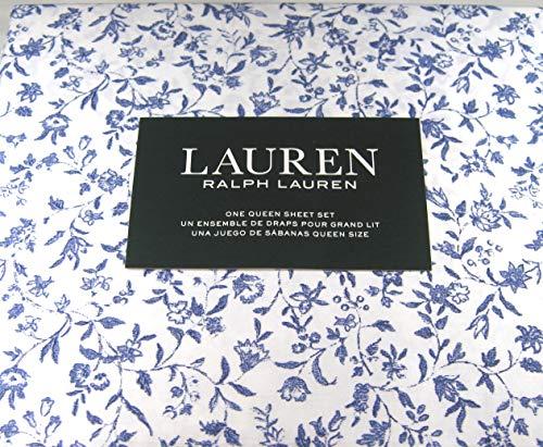 Ralph Lauren Queen Size Cottage Chic Floral Sheet Set Blue and White Cotton