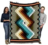 Pure Country Weavers Whirlwind Smoke - Southwest Native American Inspired Tribal Camp Blanket Throw Woven from Cotton - Made in The USA (72x54)