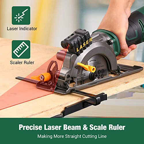 Mini Circular Saw, TECCPO 5.8A Circular Saw with Laser Guide, Fine Copper Motor, Max Cutting Depth 1-11/16'' (90°), 1-3/8'' (45°), 3 Blades for Wood, Soft Metal, Tile Cuts - TPMS115A