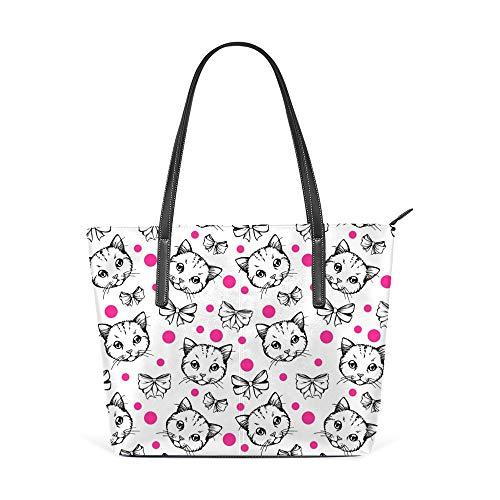 Lafle Oberer Griff Einkaufstasche Katzenbögen Leder Schulter Taschen Handtasche for Damen Frauen mit Reißverschluss