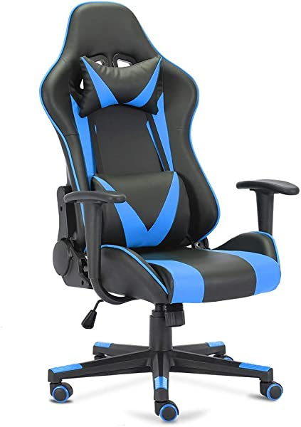 Truker Gaming Chair Home Office Chair Racing Style High Back Executive Ergonomic Swivel Chair With Headrest Lumbar Support 180 Reclining Black Blue