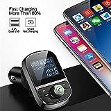 Ruimin 1PCS Wireless In-Car Bluetooth Music TF card U disk Support Bluetooth Speakerphone 3.1A Dual USB Car Charger FM Transmitter