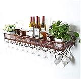 Estante para vino colgante, estante para copa de vino Estante para vino montado en la pared, sostenedor de copa de botella de vino colgante de hierro forjado F Bar Racks de restaurante (tamaño: 60 cm)