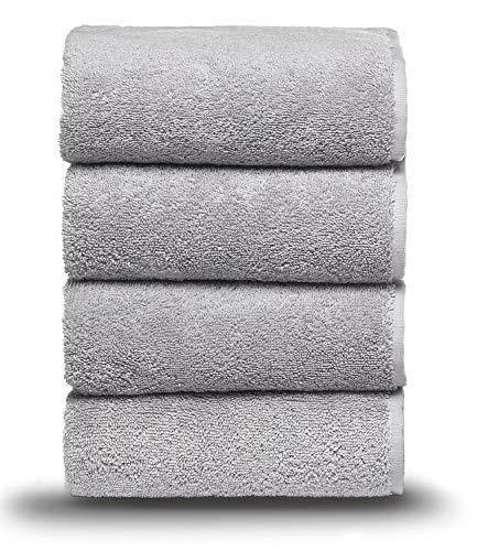 Arus - Juego de toallas (4 o 6 unidades, 100% algodón rizado, 500 g/m²), algodón, gris claro, 4 Badetücher