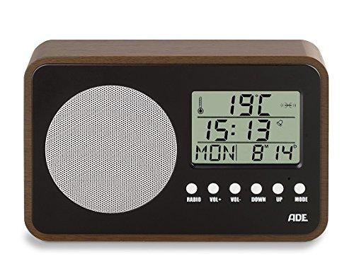 ADE BR1704 Radio (kompakt und batteriebetrieben im Retro-Style mit Uhr, LCD-Display, Wecker, Thermometer und Kalender) Schwarz - Nussbaum