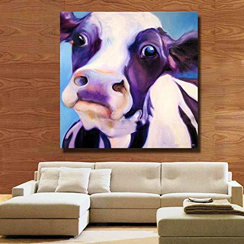 Pintura Al Óleo Pintada A Mano Pura,Pintura Abstracta De La Cabeza De La Vaca...