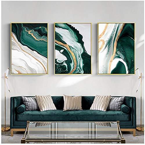 Modernas líneas abstractas de lámina de oro, pinturas de arte en lienzo verde para la sala de estar, carteles e impresiones del dormitorio, póster de pared, decoración del hogar, 50x70cm (20x28in) × 3