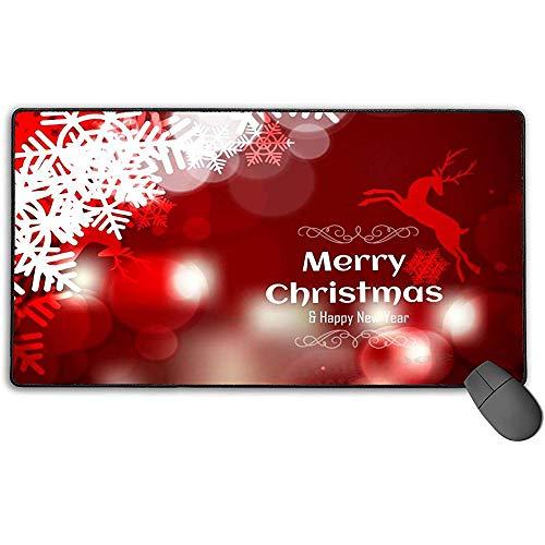 Grote muismat, Vrolijk Kerstfeest en Gelukkig Nieuwjaar Donker Rood Achtergrond Ontwerp Verlengd Gaming Mouse Pad Antislip Rubber Mousepad 40x75 cm