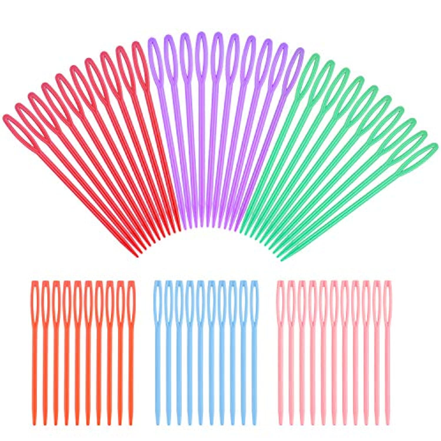 60pcs Colorful Large Eye Plastic Sewing Needles for Kid Weave Education