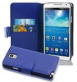 Cadorabo Funda Libro para Samsung Galaxy Note 3 en Azul Real - Cubierta Proteccíon de Cuero Sintético Estructurado con Tarjetero y Función de Suporte - Etui Case Cover Carcasa