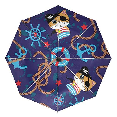 Paraguas de Viaje pequeño a Prueba de Viento al Aire Libre Lluvia Sol UV Auto Compacto 3 Pliegues Cubierta de Paraguas - Lindo Ancla de Rueda de Gato Pirata
