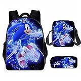 Sonic The Hedgehog - Juego de mochilas escolares (3 piezas), diseño de erizo, Sonic16, L40cm * W30cm * H15cm, Mochila infantil