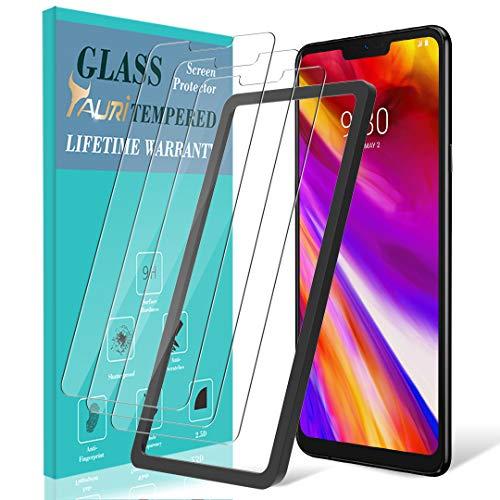 TAURI [3 Stück Schutzfolie für LG G7 / LG G7 ThinQ Panzerglas, [Alignment Frame] [Einfache Installation] [9H Härte] [Anti-Kratzen/Öl/Bläschen] Panzerglasfolie HD Klar Glas Bildschirmschutzfolie